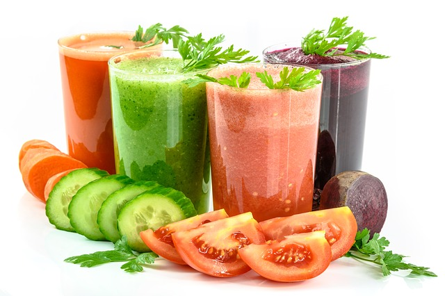 Colourful juice or green vegetables